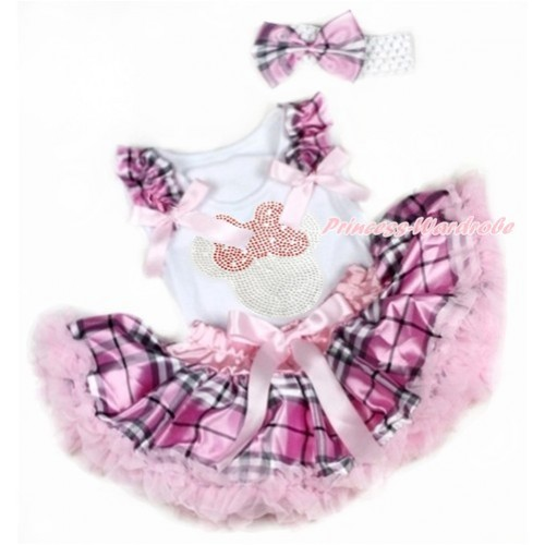 White Baby Pettitop with Light Pink Checked Ruffles & Light Pink Bows with Sparkle Crystal Bling Rhinestone Red Minnie Print & Light Pink Checked Newborn Pettiskirt With White Headband Light Pink Checked Satin Bow NG1344