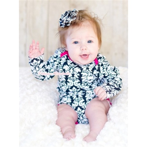 Plain Style Hot Pink Damask Long Sleeve Baby Jumpsuit LH06
