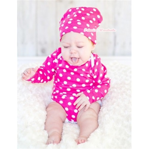 Hot Pink White Polka Dots Long Sleeve Baby Jumpsuit with Cap Set LH276