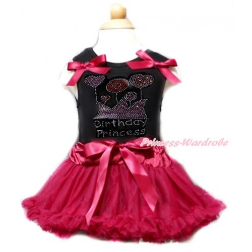 Black Baby Pettitop & Raspberry Wine Red Bows & Sparkle Crystal Bling Rhinestone Birthday Princess Print With Raspberry Wine Red Baby Pettiskirt NG1356