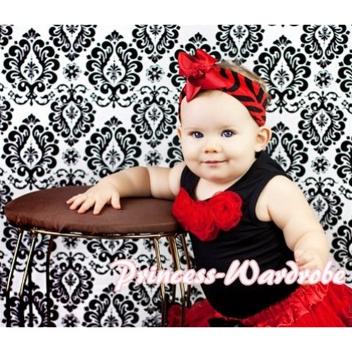 Black Baby Pettitop & Red Rosettes  NT44
