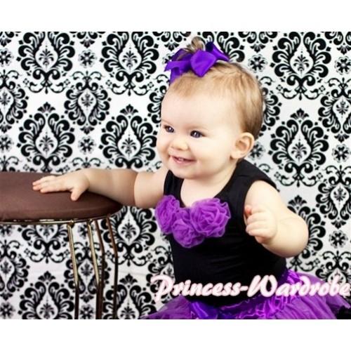 Black Baby Pettitop & Dark Purple Rosettes NT16