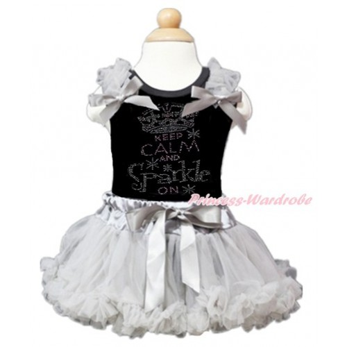 Black Baby Pettitop with Grey Ruffles & Grey Bow with Sparkle Crystal Bling Rhinestone Keep Calm And Sparkle On Print with Grey Newborn Pettiskirt NG1361
