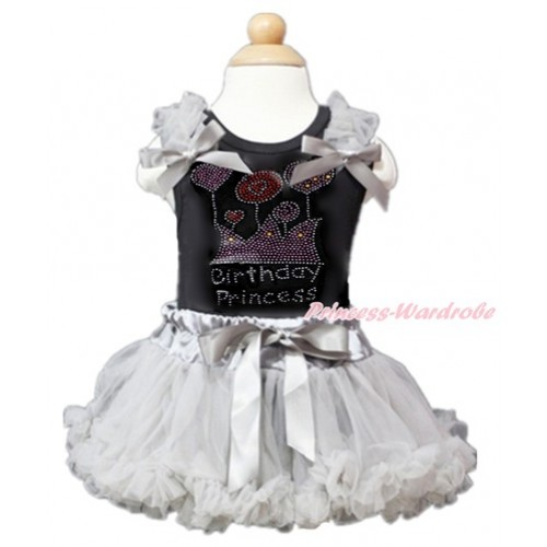 Black Baby Pettitop with Grey Ruffles & Grey Bow with Sparkle Crystal Bling Rhinestone Birthday Princess Print with Grey Newborn Pettiskirt NG1362