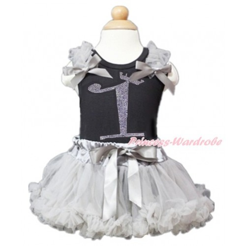 Black Baby Pettitop with Grey Ruffles & Grey Bow with 1st Sparkle Crystal Bling Rhinestone Birthday Number Print with Grey Newborn Pettiskirt NG1360