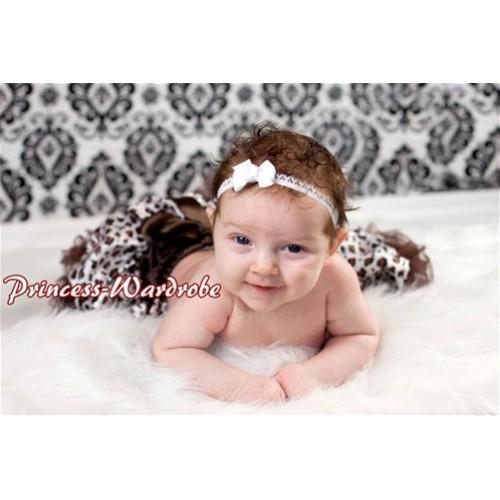 Chocolate Brown leopard New Born Pettiskirt N10