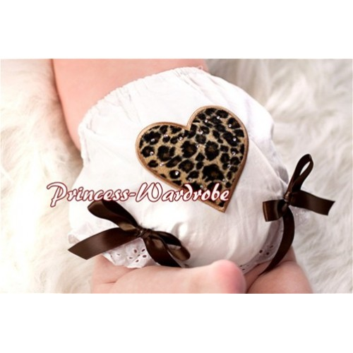 White Bloomers & Leopard Print Heart & Brown Bows LD15