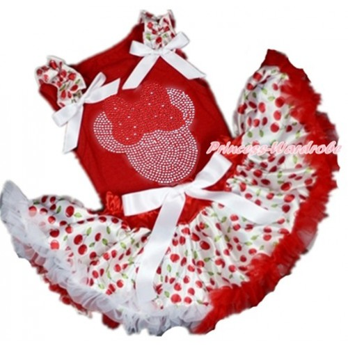 Red Baby Pettitop with White Cherry Ruffles & White Bow with Sparkle Crystal Bling Rhinestone Red Minnie Print with Red White Cherry Newborn Pettiskirt NG1367