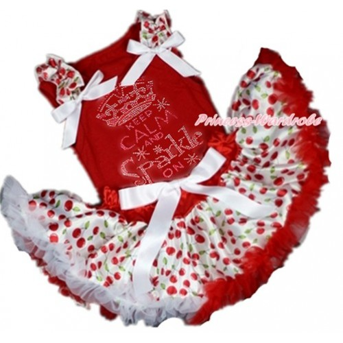 Red Baby Pettitop with White Cherry Ruffles & White Bow with Sparkle Crystal Bling Rhinestone Keep Calm And Sparkle On Print with Red White Cherry Newborn Pettiskirt NG1370