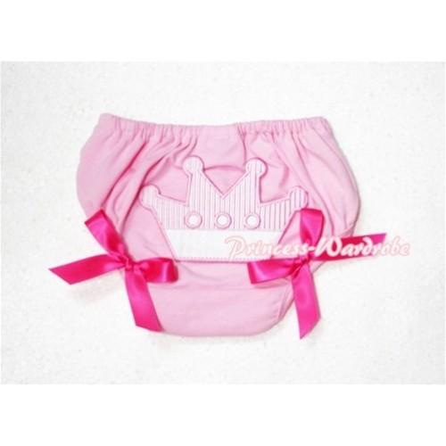 Sweet Crown Print Light Pink Panties Bloomers Hot Pink Bows LD42
