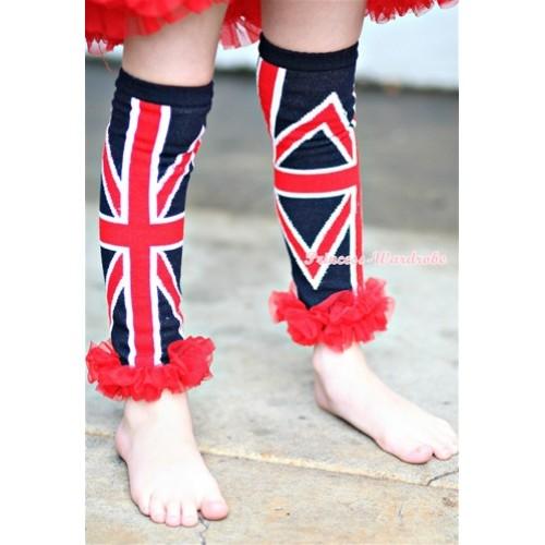 Newborn Baby Black British Flag Leg Warmers Leggings with Red Ruffles LG160
