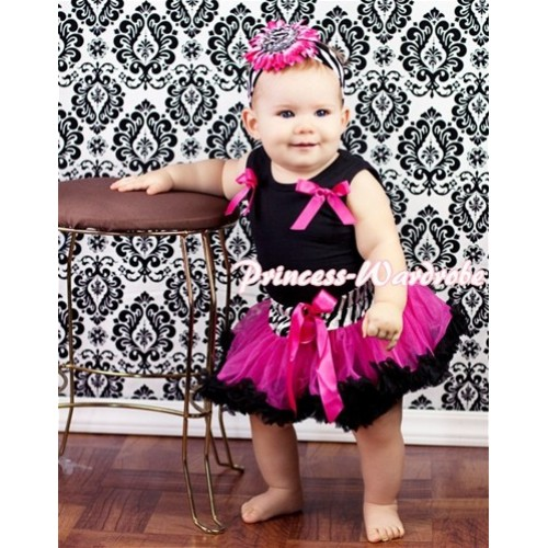 Black Newborn Pettitop & Hot Pink Bows with Zebra Hot Pink Black Newborn Pettiskirt NG212