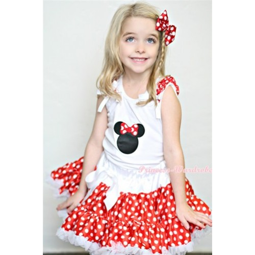 White Tank Top with Minnie Print with Minnie Ruffles & White Bow& Minnie White Polka Dots Pettiskirt MG348
