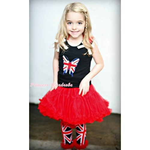 Black Tank Top with Patriotic British Flag Butterfly Print with Red Ruffles & White Bow& Red Pettiskirt & Red Ruffles Black British Flag Leg Warmers Leggings MW102