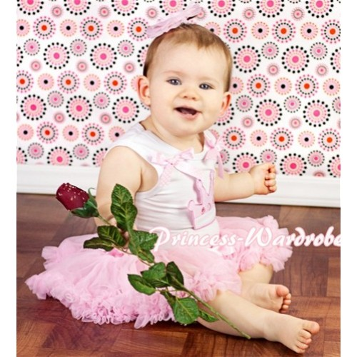 White Baby Pettitop & Cute Crown & Pink White Dots Bows with Light Pink Baby Pettiskirt NG316