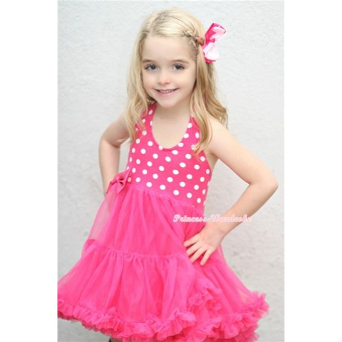 Hot Pink White Polka Dots with ONE-PIECE Petti Dress & Light Hot Pink Ribbon Bow LP21