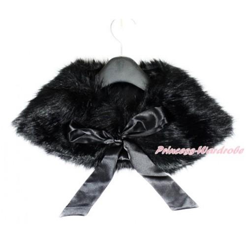 Black Ribbon with Black Soft Fur Stole Shawl Shrug Wrap Cape Wedding Flower Girl Shawl Coat SH50