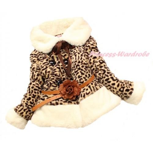 White Collar Leopard Faux Fur Winter Warm Shawl Coat with Brown Flower Leather Belt Jacket SH40