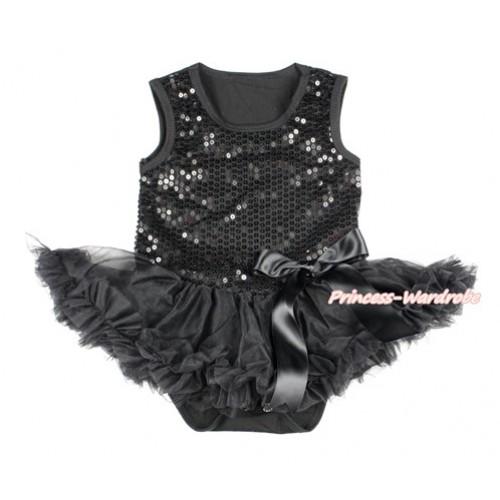 Valentine's Day Black Sparkle Sequins Baby Bodysuit Jumpsuit Black Pettiskirt & Black Bow JS2768