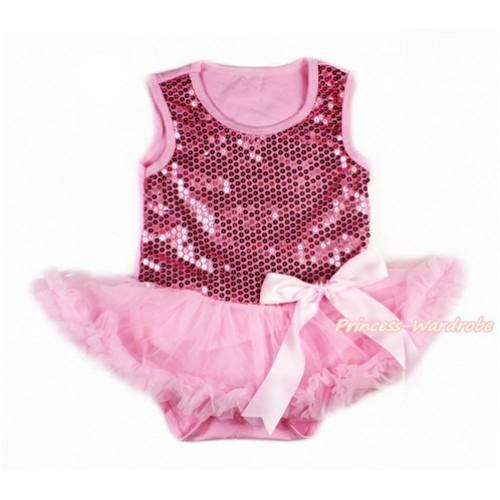 Valentine's Day Light Pink Sparkle Sequins Baby Bodysuit Jumpsuit Light Pink Pettiskirt & Light Pink Bow JS2771