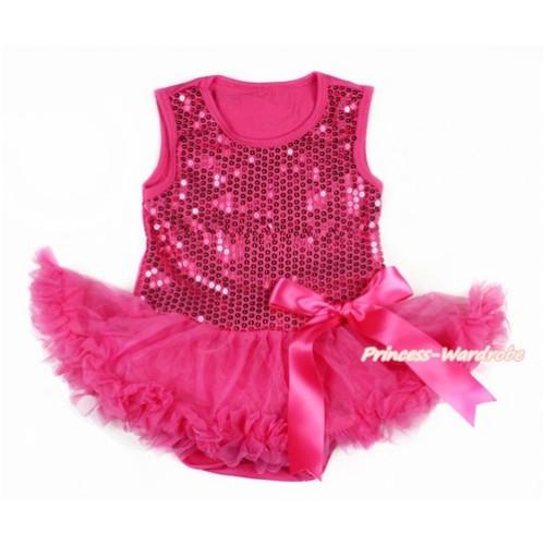 Valentine's Day Hot Pink Sparkle Sequins Baby Bodysuit Jumpsuit Hot Pink Pettiskirt & Hot Pink Bow JS2772