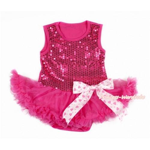 Valentine's Day Hot Pink Sparkle Sequins Baby Bodysuit Jumpsuit Hot Pink Pettiskirt & Light Hot Pink Heart Bow JS2773