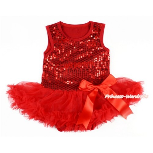 Valentine's Day Red Sparkle Sequins Baby Bodysuit Jumpsuit Red Pettiskirt & Red Bow JS2774