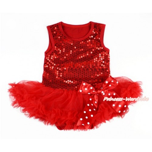 Valentine's Day Red Sparkle Sequins Baby Bodysuit Jumpsuit Red Pettiskirt & Minnie Dots Bow JS2775