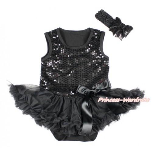 Valentine's Day Black Sparkle Sequins Baby Bodysuit Jumpsuit Black Pettiskirt & Black Bow With Black Headband Black Sparkle Sequins Bow JS2782