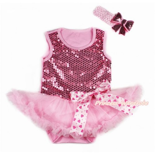 Valentine's Day Light Pink Sparkle Sequins Baby Bodysuit Jumpsuit Light Pink Pettiskirt & Light Hot Pink Heart Bow With Light Pink Headband Light Pink Sparkle Sequins Bow JS2783
