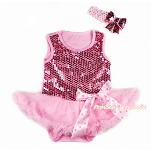 Valentine's Day Light Pink Sparkle Sequins Baby Bodysuit Jumpsuit Light Pink Pettiskirt & Light Hot Pink Dots Bow With Light Pink Headband Light Pink Sparkle Sequins Bow JS2784