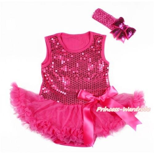 Valentine's Day Hot Pink Sparkle Sequins Baby Bodysuit Jumpsuit Hot Pink Pettiskirt & Hot Pink Bow With Hot Pink Headband Hot Pink Sparkle Sequins Bow JS2786