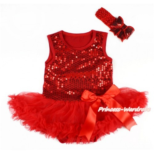 Valentine's Day Red Sparkle Sequins Baby Bodysuit Jumpsuit Red Pettiskirt & Red Bow With Red Headband Red Sparkle Sequins Bow JS2788