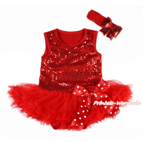 Valentine's Day Red Sparkle Sequins Baby Bodysuit Jumpsuit Red Pettiskirt & Minnie Dots Bow With Red Headband Red Sparkle Sequins Bow JS2789