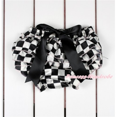 Black White Checked Satin Layer Panties Bloomers With Black Bow BC185
