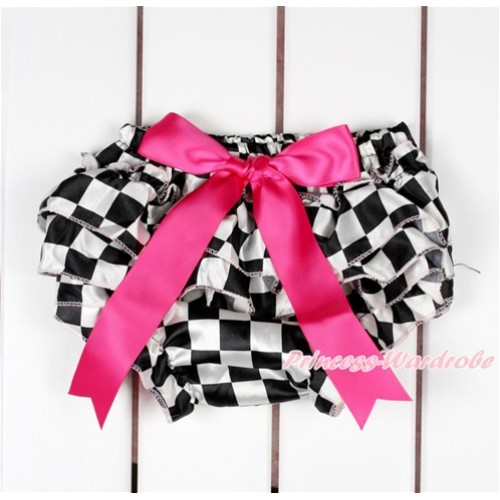 Black White Checked Satin Layer Panties Bloomers With Hot Pink Bow BC188
