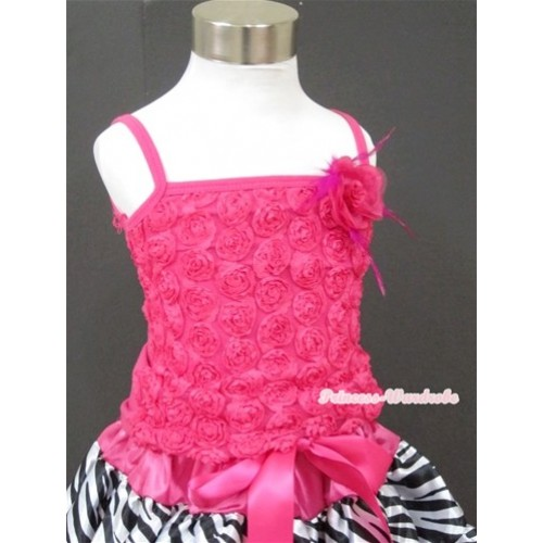 Hot Pink Romantic Rose Strap Pettitop With Hot Pink Feather Rosettes TR004