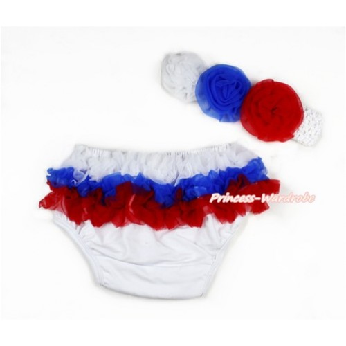 Russia White Royal Blue Red Ruffles World Cup Panties Bloomers & White Headband White Royal Blue Red Rose BA10