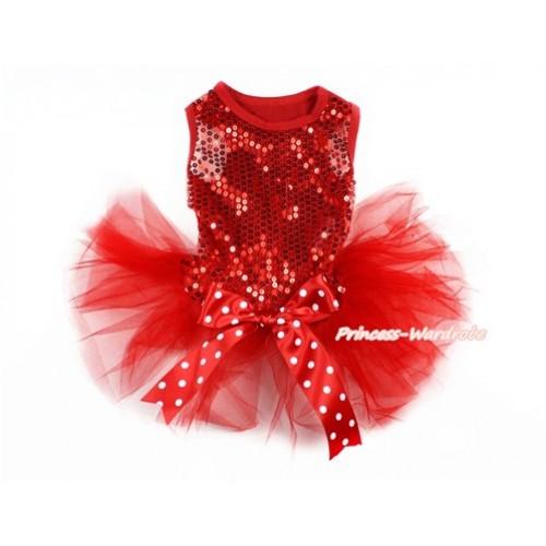 Sparkle Sequins Red Sleeveless Minnie Dots Bow Gauze Skirt Pet Dress DC058