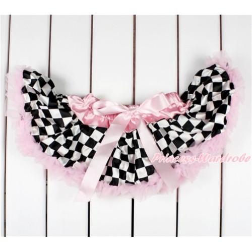 Light Pink Black White Checked Newborn Pettiskirt N206