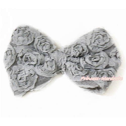 Grey Romantic Rose Bow Hair Clip H797