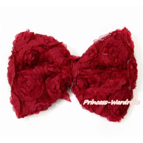 Raspberry Wine Red Romantic Rose Bow Hair Clip H798