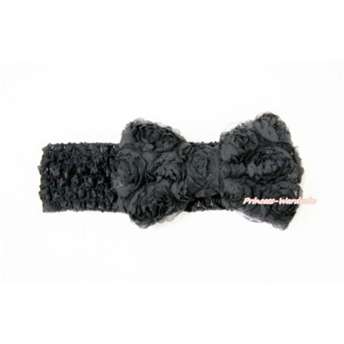 Black Headband With Black Romantic Rose Bow Hair Clip H799