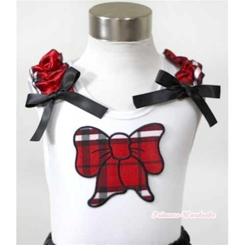 White Tank Top With Red Black Checked Butterfly Print With Red Black Checked Ruffles& Black Bows TB259