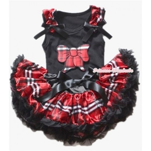 Black Baby Pettitop with Red Black Checked Butterfly Print with Red Black Checked Ruffles & Black Bows with Red Black Checked Newborn Pettiskirt NG1129