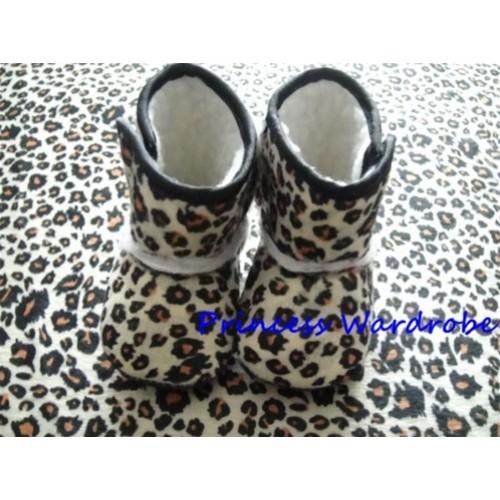 Brown Leopard Print Baby Crib Boots SB11