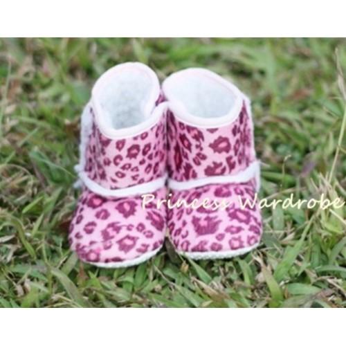 Hot Pink Leopard Baby Crib Boots SB12