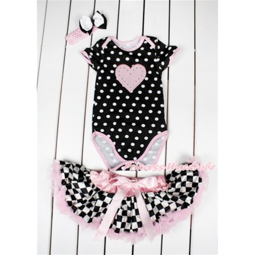 Black White Polka Dots Baby Jumpsuit with Light Pink Heart Print with Light Pink Black White Checked Newborn Pettiskirt With Light Pink Headband White Black Ribbon Bow JN05