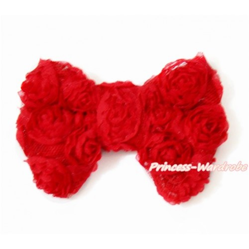 Hot Red Romantic Rose Bow Hair Clip H513