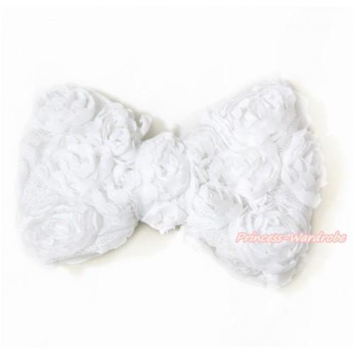 White Romantic Rose Bow Hair Clip H516